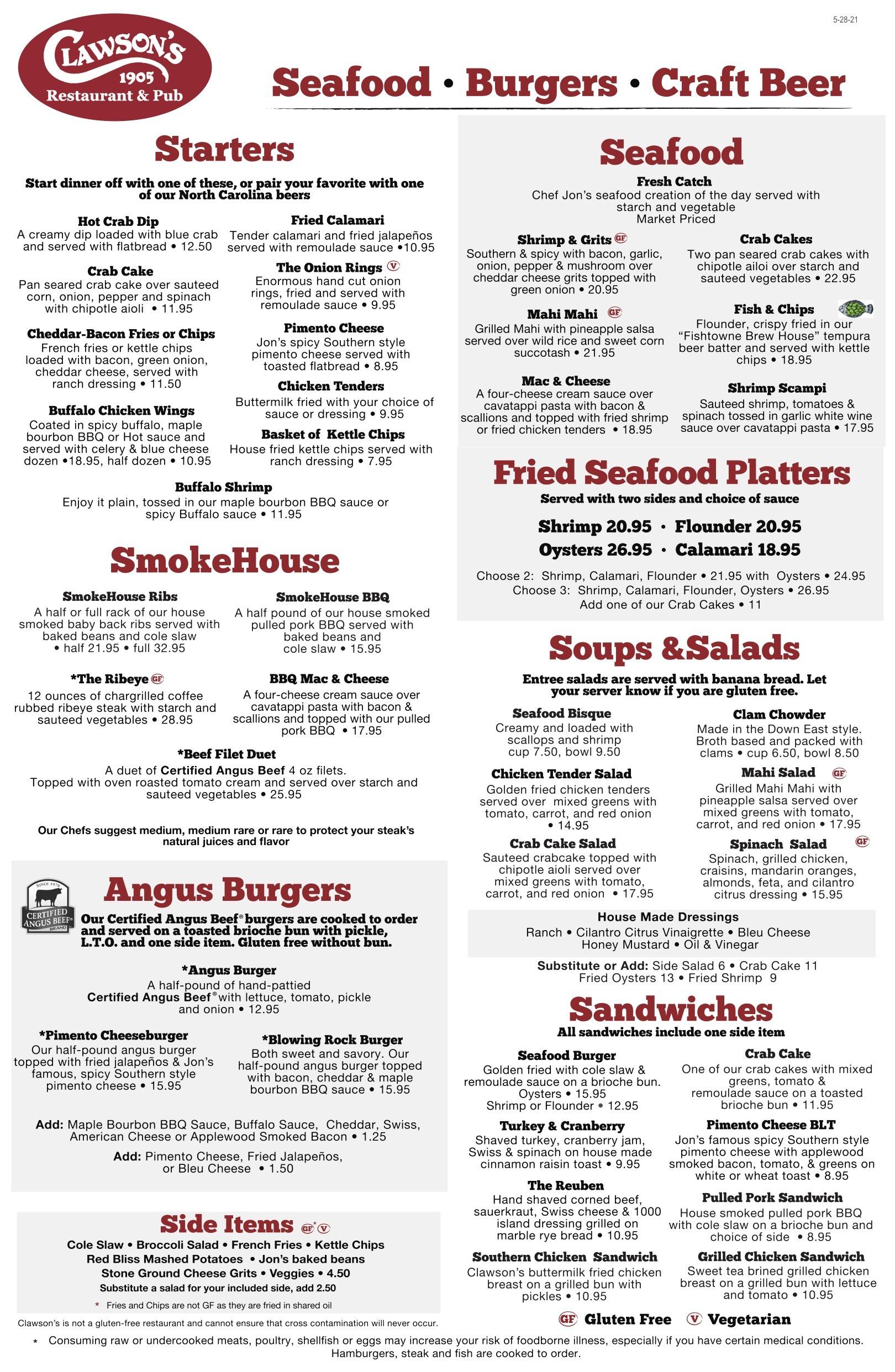 Clawsons food menu 6-1-21