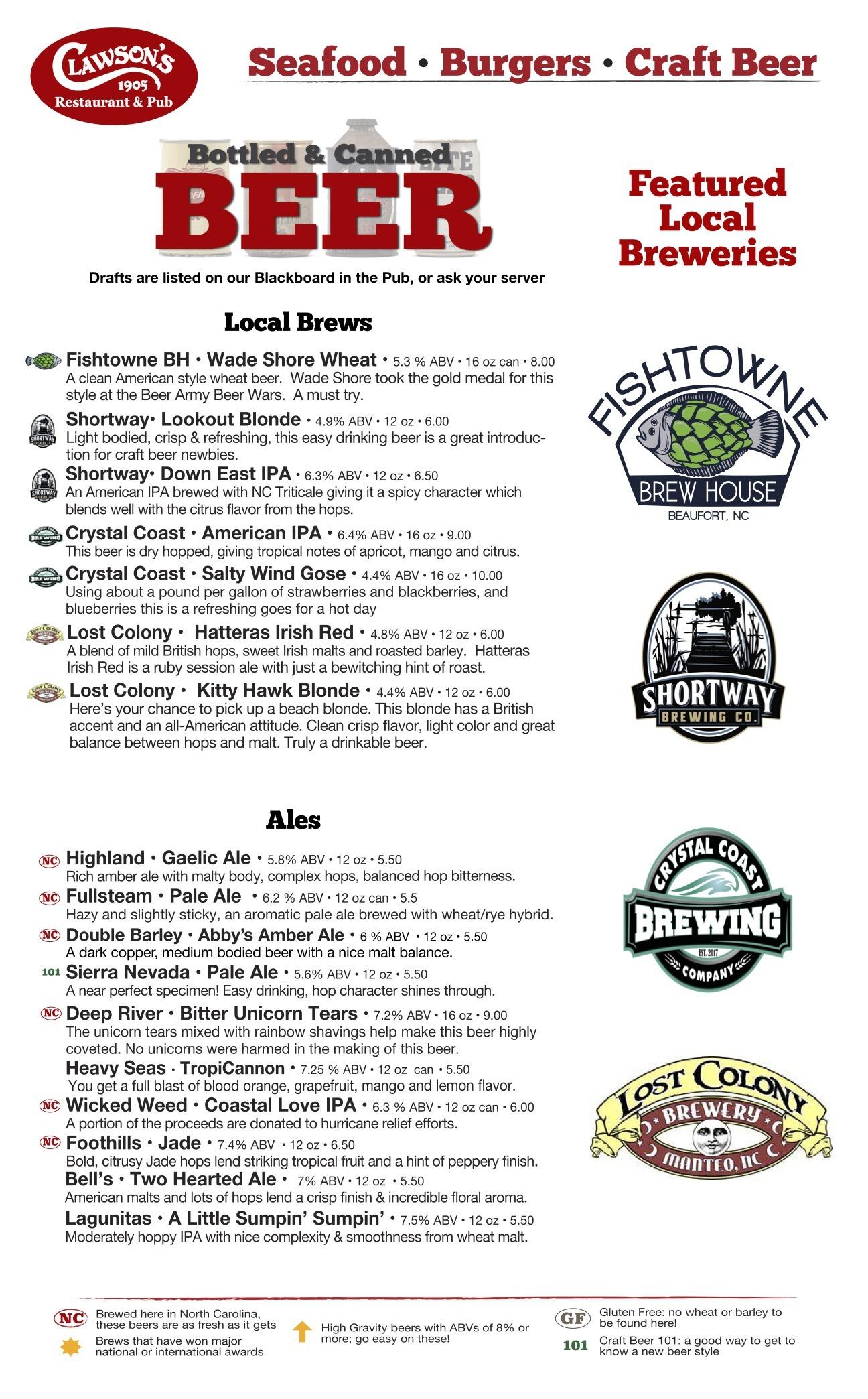 beer menu summer 2021 logos